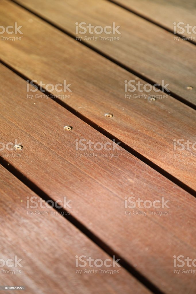 Beautiful patio decking of the tropical hardwood Massaranduba stock photo