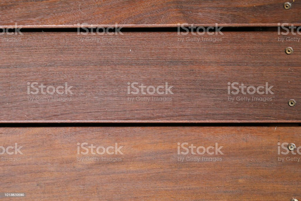 Beautiful patio decking of the tropical hardwood Massaranduba stock photo