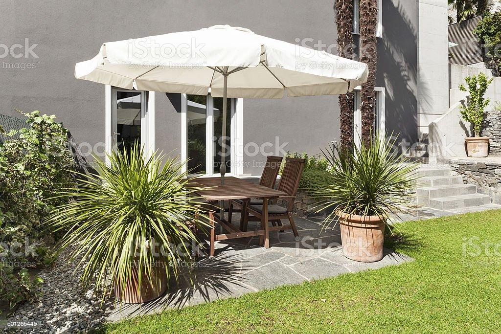 beautiful patio, modern house stock photo