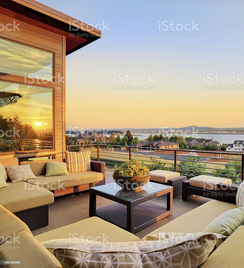 Beautiful Patio with Sunset View stock photo