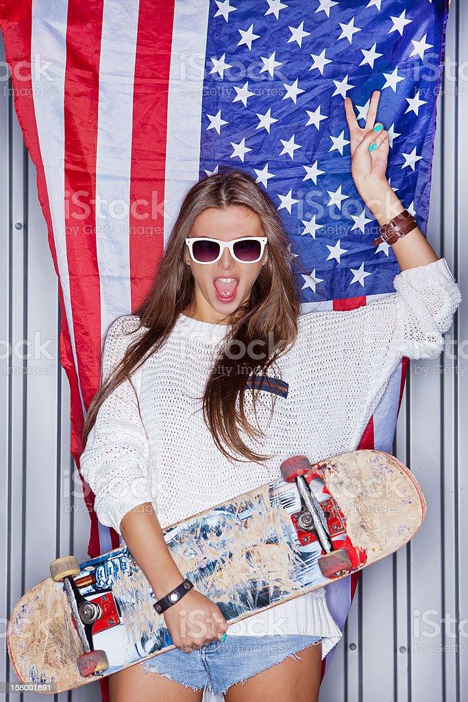 Beautiful patriotic girl stock photo