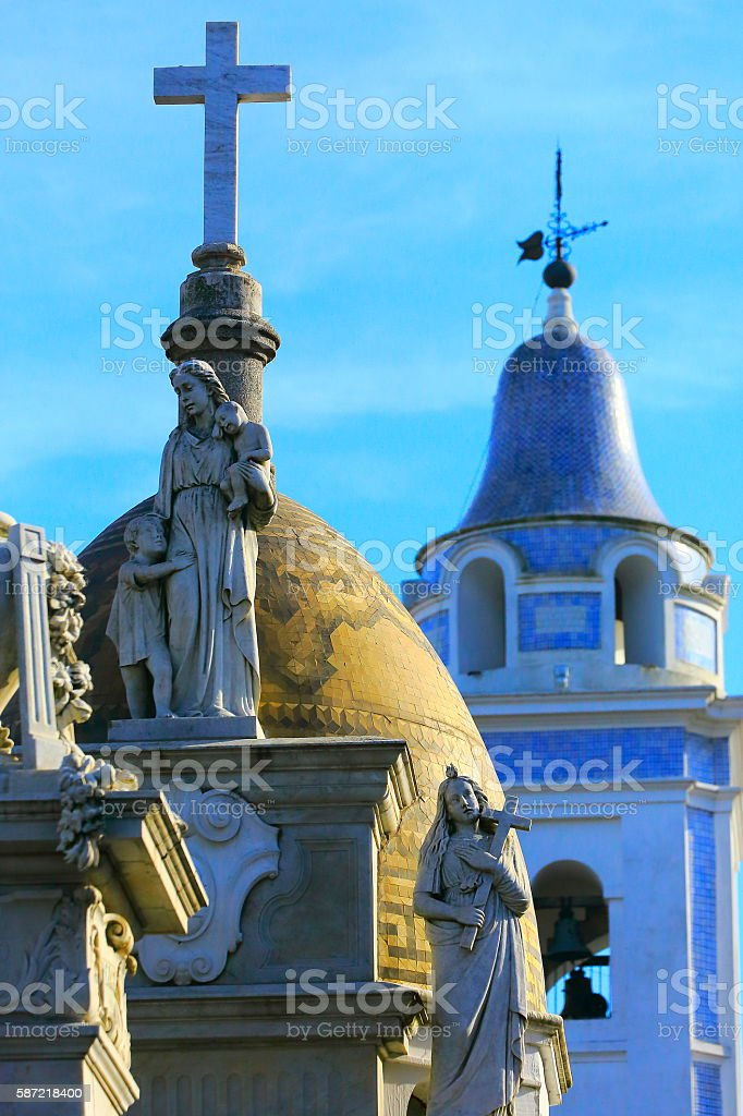Beautiful peaceful Madonna Angels mausoleum, Recoleta cemetery Bell tower stock photo