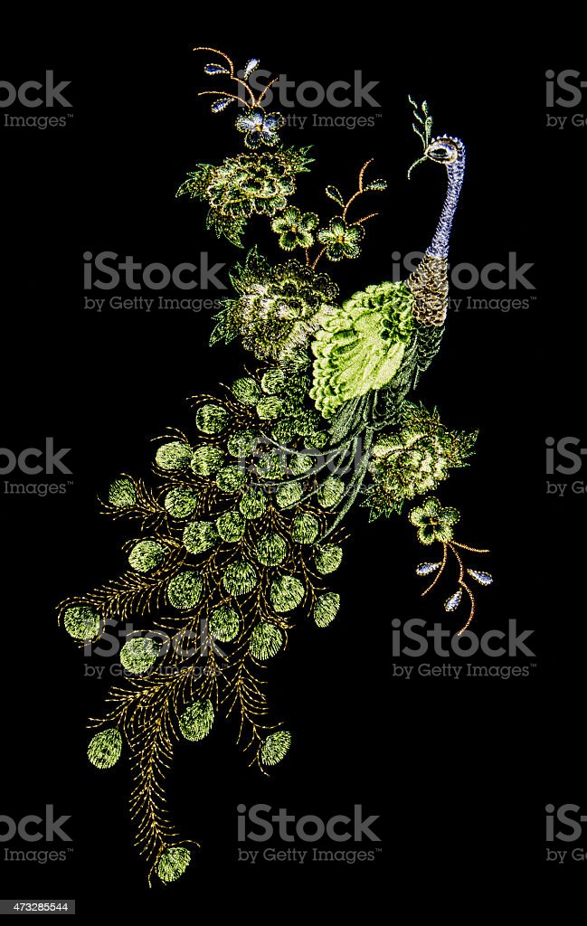 Beautiful peacock embroider stock photo