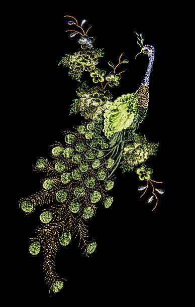 pavão bonito embroider - pena de pássaro algodão imagens e fotografias de stock