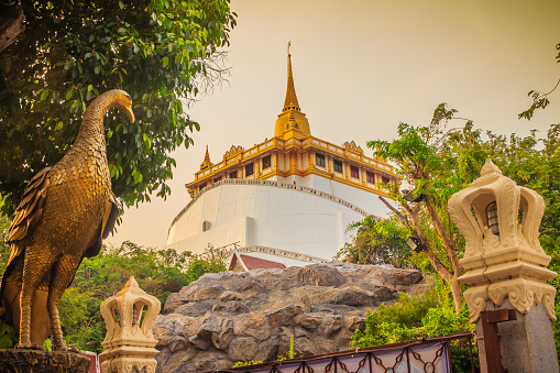Beautiful peacock sculpture at front of Wat Saket Ratcha Wora Maha Wihan (Wat Phu Khao Thong, Golden Mount temple), a popular Bangkok tourist attraction and has become one of the symbols of the city.