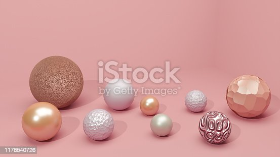 1136239089 istock photo Beautiful pearls set on pink minimalist background, realistic 3d illustration. Big pink, white balls in different textured and shapes in empty studio room. Decorative spheres composition. 1178540726