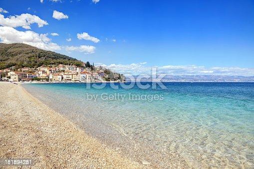 Beautiful pebble beach in Moscenicka Draga, Croatia.