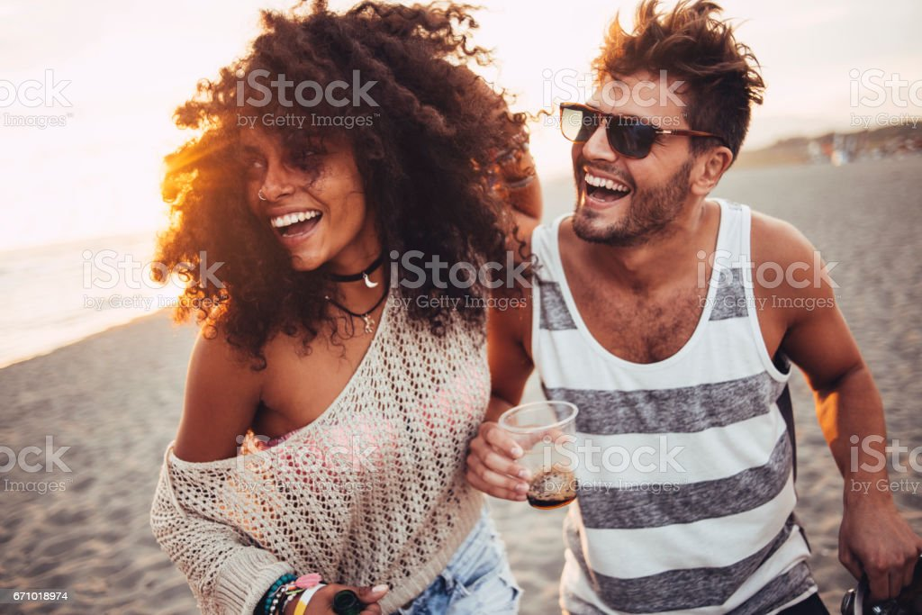 Beautiful people having fun stock photo
