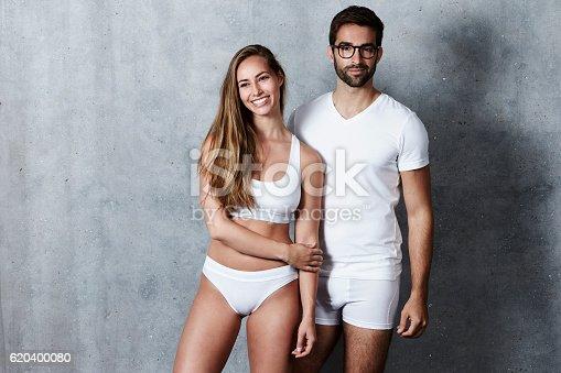 620404536istockphoto Beautiful people in underwear, studio 620400080