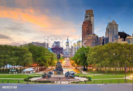 Beautiful philadelphia downtown skyline at sunset USA