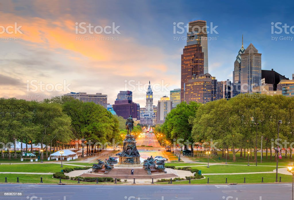 Beautiful philadelphia downtown skyline at sunset stock photo