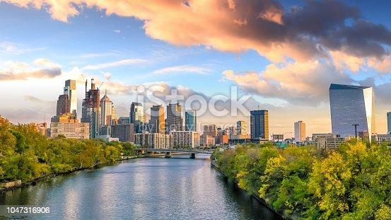 Beautiful Philadelphia skyline at night in USA