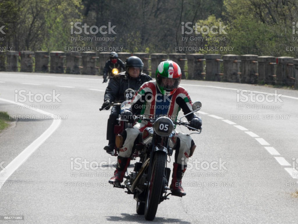 TRIESTE, ITALY - APRIL 3:Beautiful  Photo of a rare motorcycle model on the Trieste Opicina Historic. APRIL 3, 2017. Trieste Opicina Historic is regularity run for vintage and classic motorcycle . stock photo