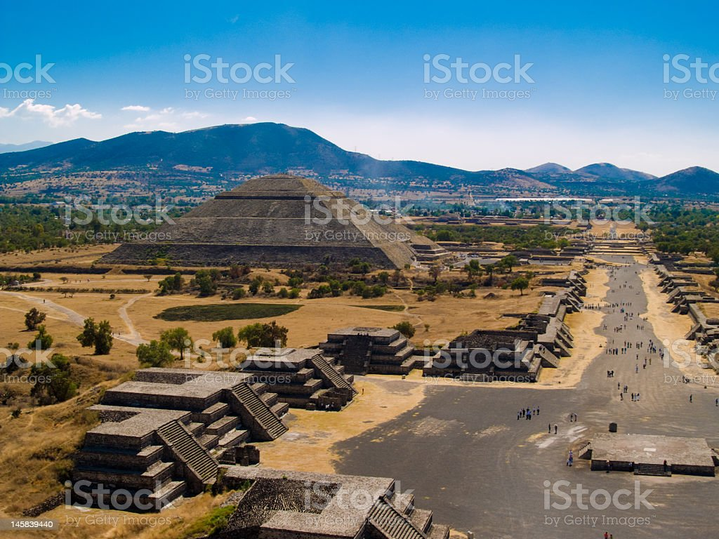Beautiful photo of the Teotihuacan Pyramids stock photo