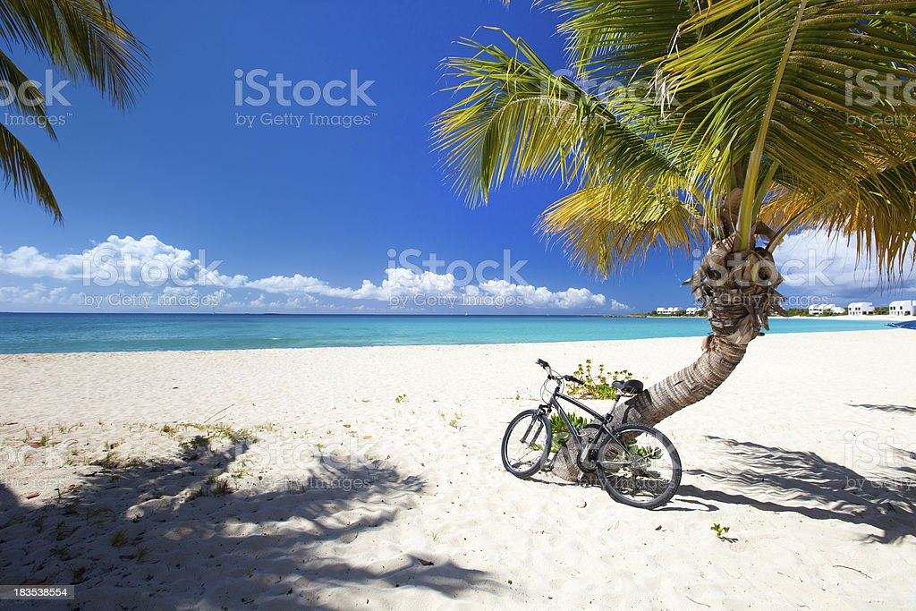 Beautiful picture of the Caribbean beach with a blue skyline Perfect Caribbean beach on Anguilla island Anguilla Stock Photo