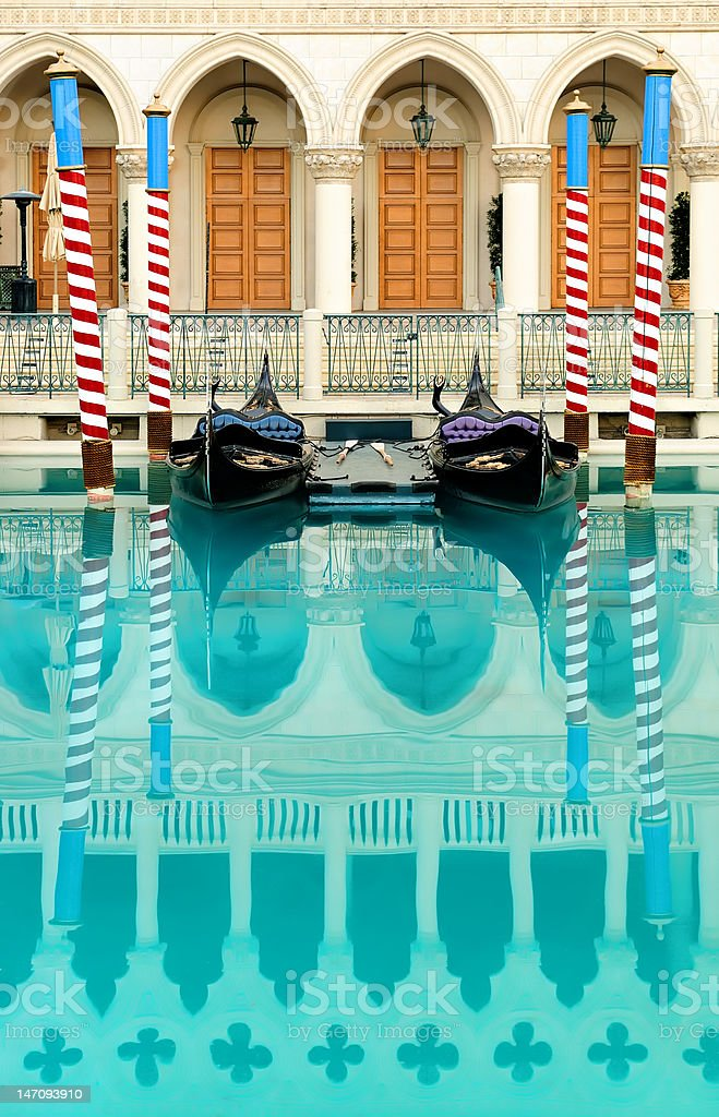 Beautiful picture of Venetian gondolas and blue water stock photo