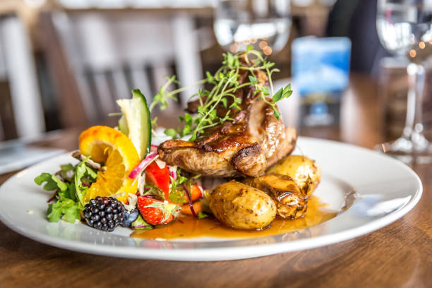 Beautiful piece of local lamb Beautiful piece of local lamb with salad and potato in Norway norwegian culture stock pictures, royalty-free photos & images