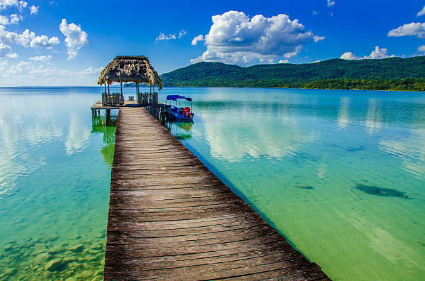 Beautiful pier at Lake Peten - Guatemala stock photo