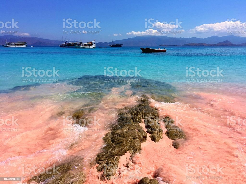 A beautiful Pink Beach and blue clear water from Komodo Island ,...