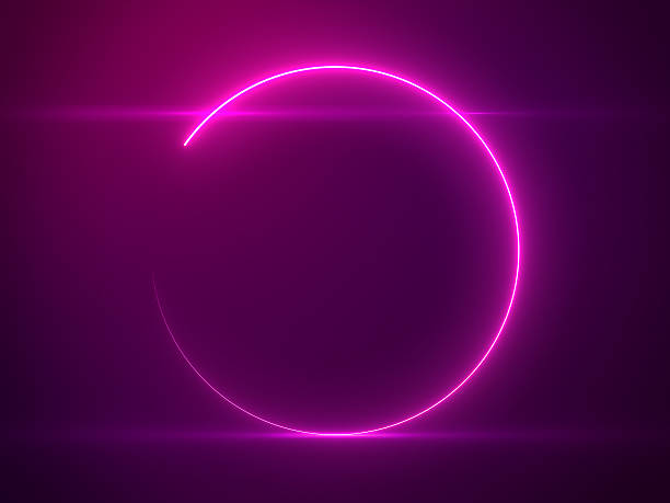beautiful pink circle light with lens flare on particles background - rosa lampe stock-fotos und bilder