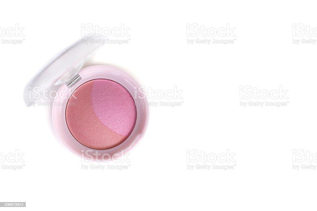 beautiful pink color blusher makeup stock photo