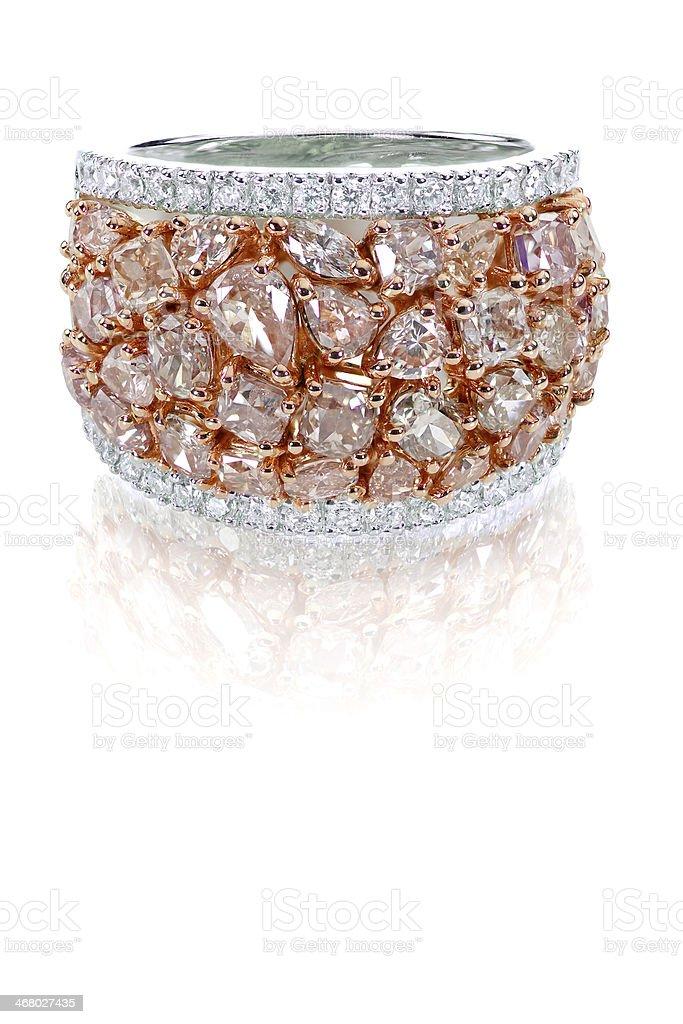 Beautiful pink diamond colored gemstone ring stock photo