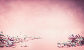 Beautiful pink floral background with flowers and leaves, banner