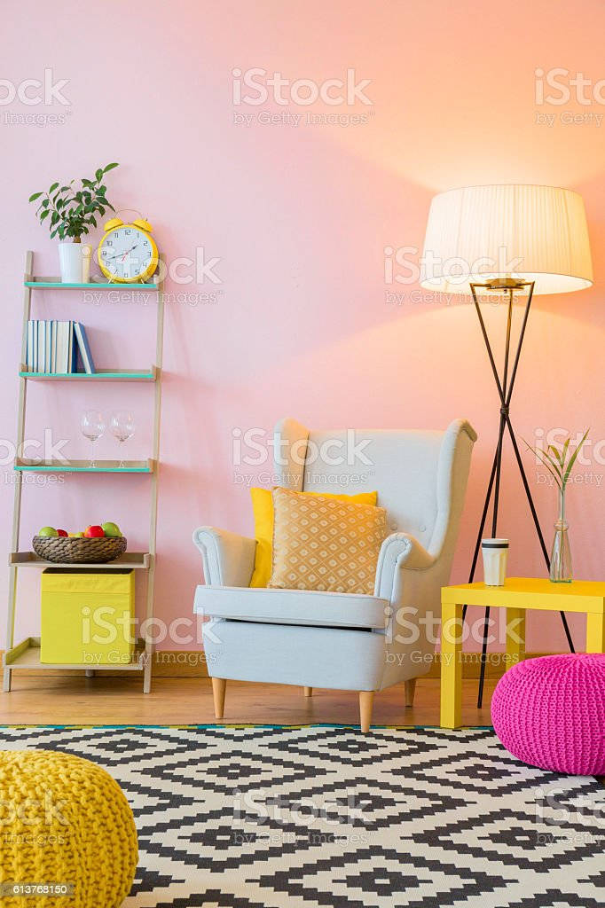Beautiful pink home interior stock photo