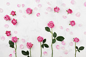 istock Beautiful pink rose flowers on white table top view. Wedding mockup in flat lay style. 825251356