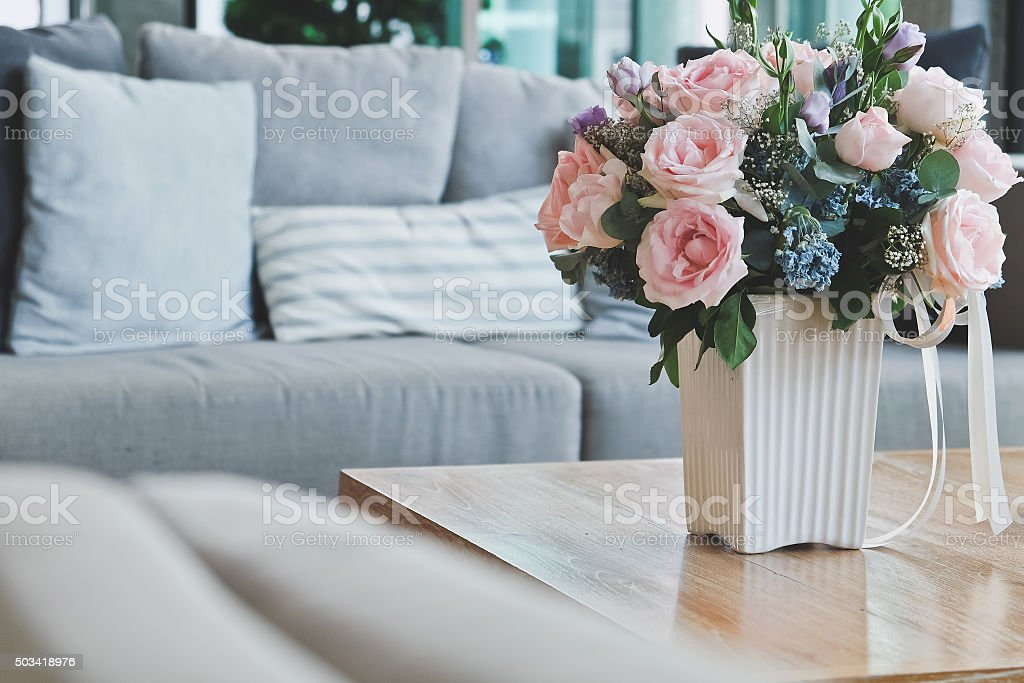 Beautiful Pink rose in living room. stock photo