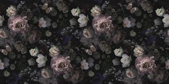 Floral vintage seamless pattern. Beautiful blooming roses, garden flowers, decorative herbs on black background. Template for decoration packaging, interior design, fabric, textile, paper, wallpaper.