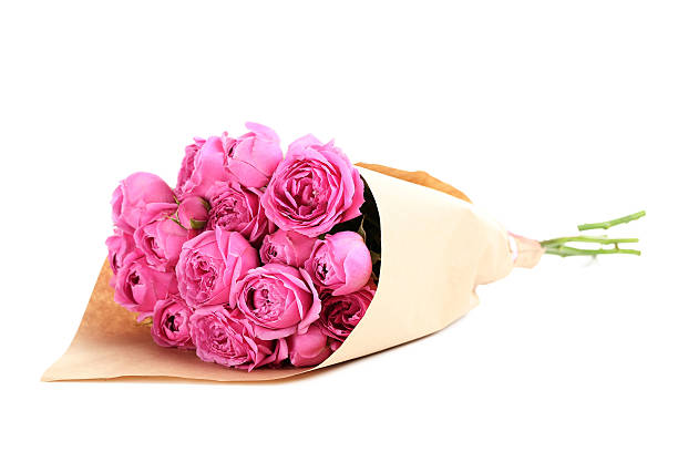 beautiful pink roses isolated on a white - bouquet stock photos and pictures