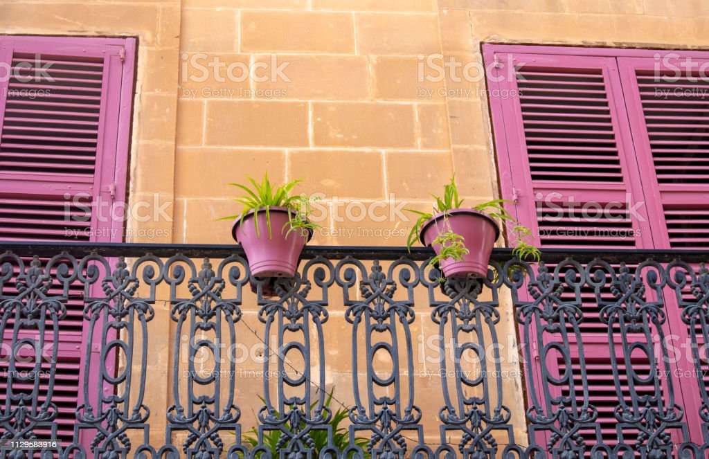 Beautiful pink shutters and flower pots stock photo