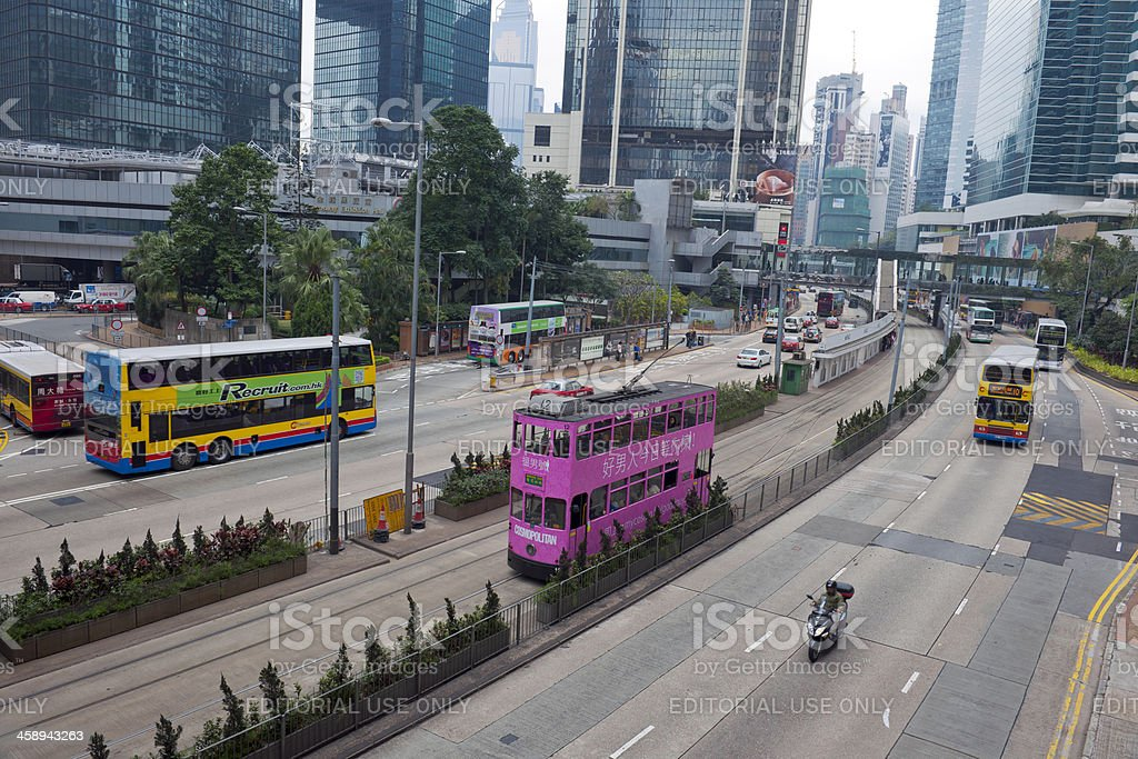 Beautiful Pink Tram in Hong Kong China royalty-free stock photo
