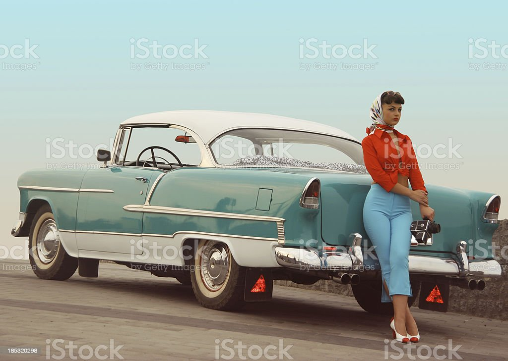 Beautiful Pinup Girl Near The Vintage Car Stock Photo ...