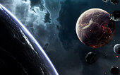 Beautiful planets at the deep space landscape wallpaper. Elements of this image furnished by NASA