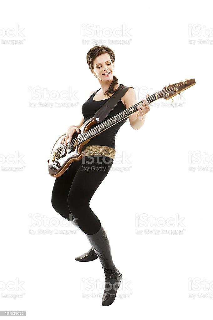 beautiful playing  guitar woman stock photo
