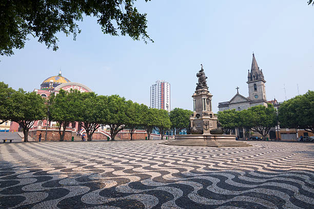 Beautiful plaza in Manaus, Amazonas stock photo