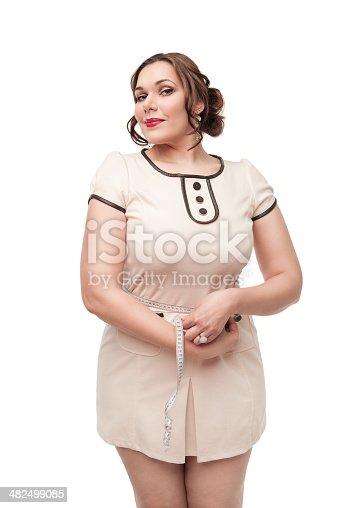1184112328 istock photo Beautiful plus size woman measuring waist 482499085