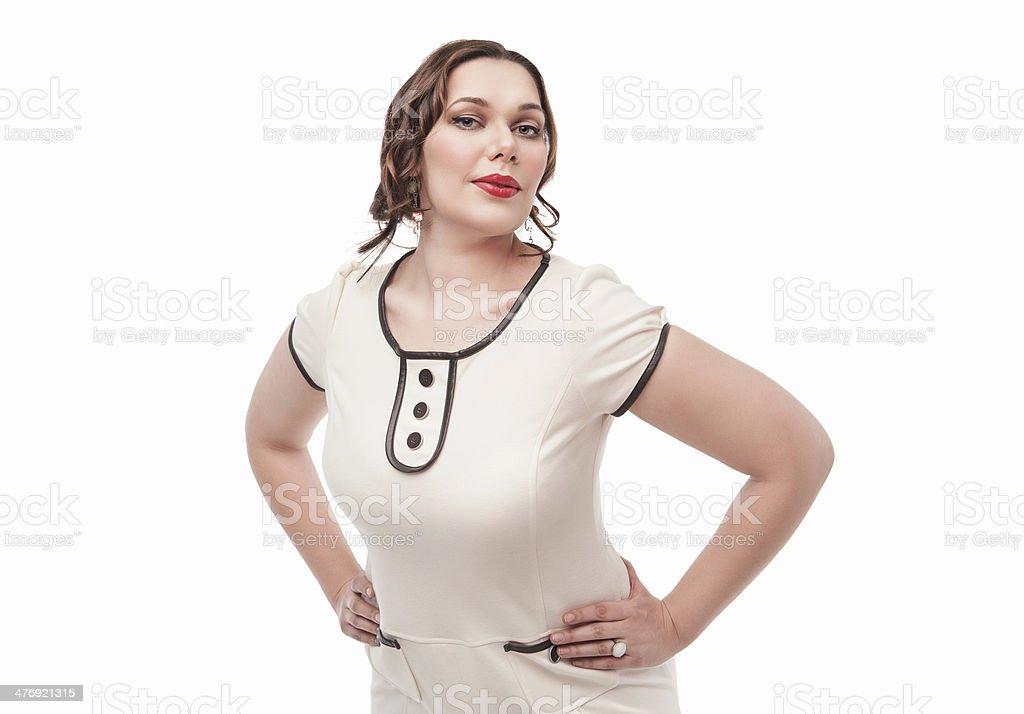 Beautiful plus size woman posing stock photo