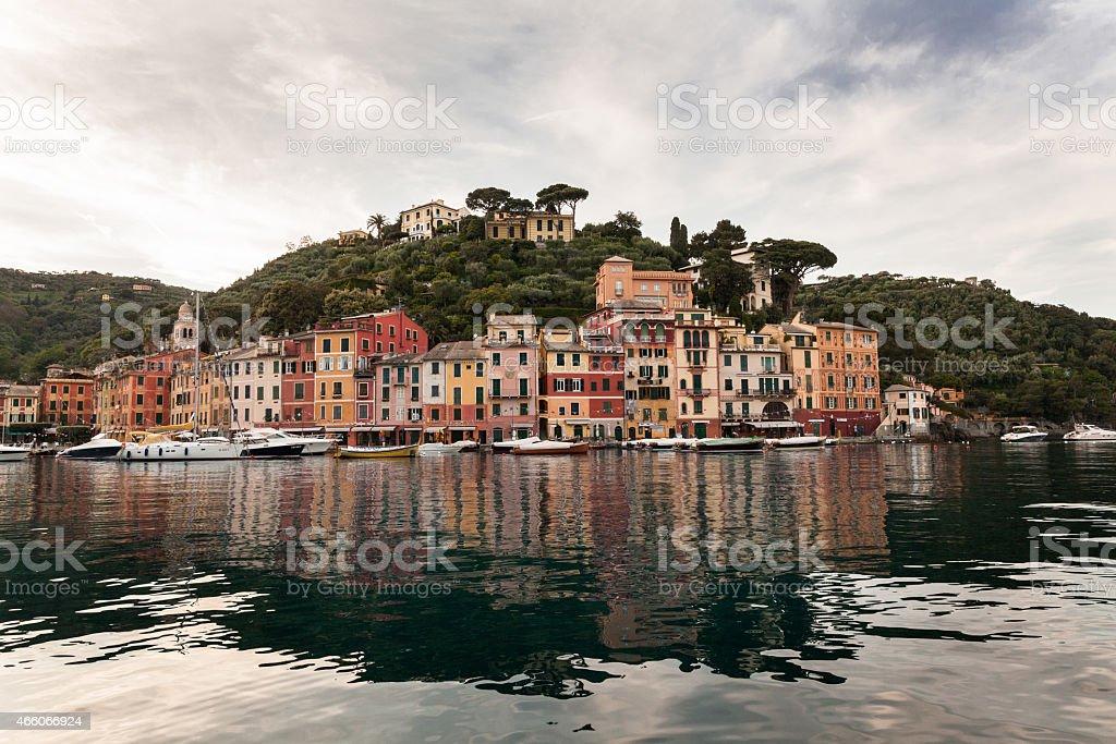 Beautiful Portofino Fishing Village In Italy At Dusk (Liguria, Italy) stock photo