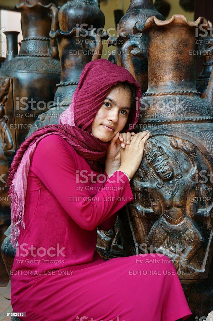 Beautiful portrait, Cham girl, Vietnamese stock photo