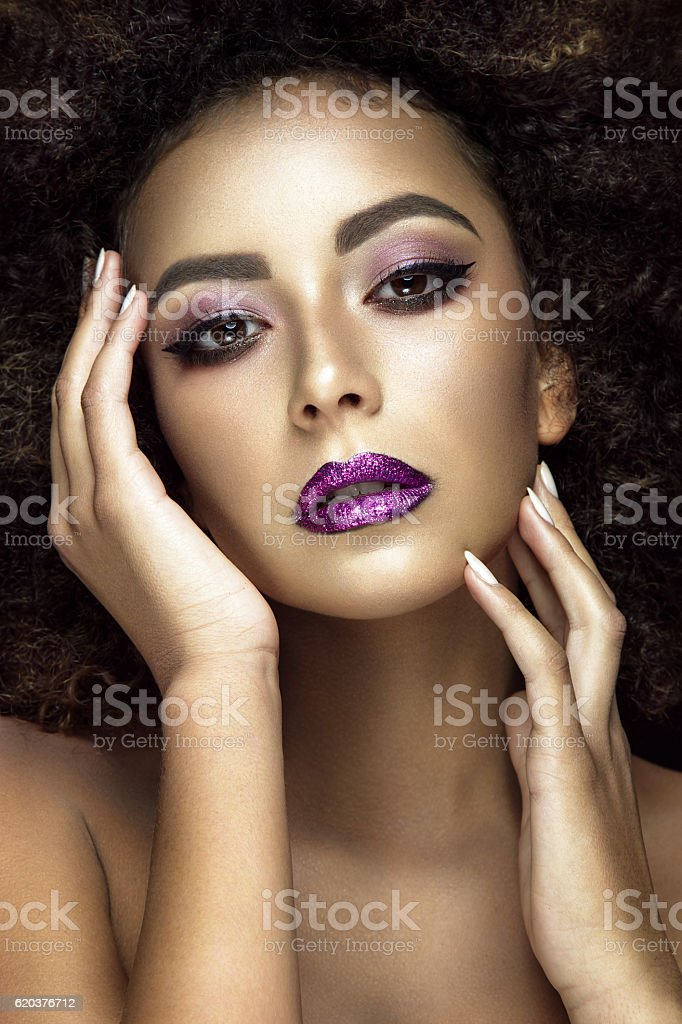 Beautiful portrait of afro woman. zbiór zdjęć royalty-free
