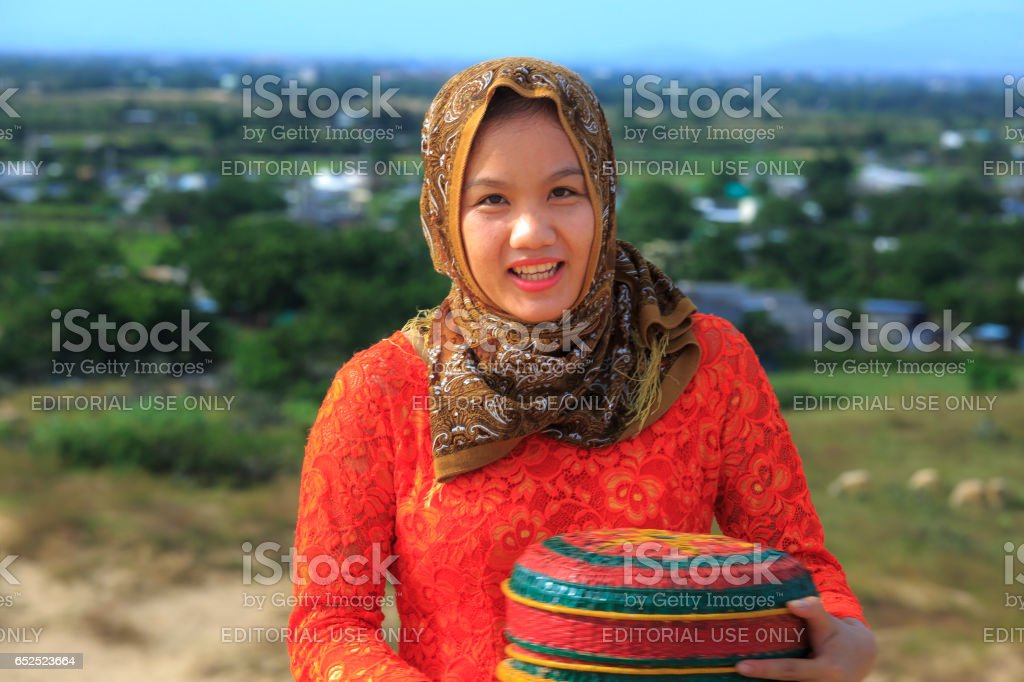 Beautiful portrait of Cham girl, minority ethnic of Vietnamese, stock photo