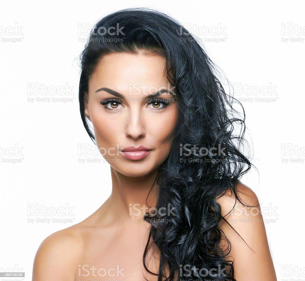 Beautiful portrait of european young woman stock photo