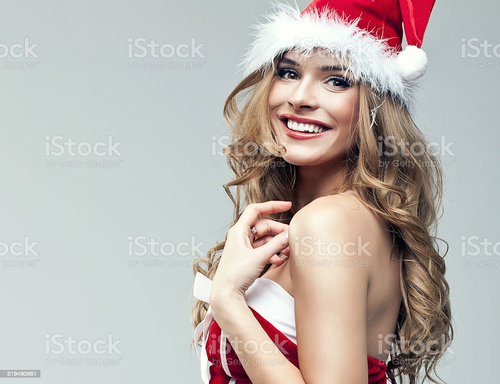 Beautiful portrait of woman in Santa Claus clothes stock photo