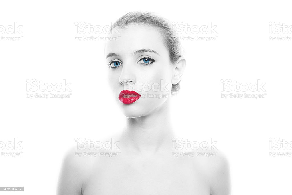 Beautiful portrait of young woman stock photo