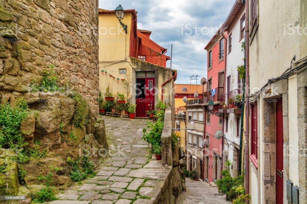 Beautiful Portuguese Architecture and Street Scene in Porto stock photo