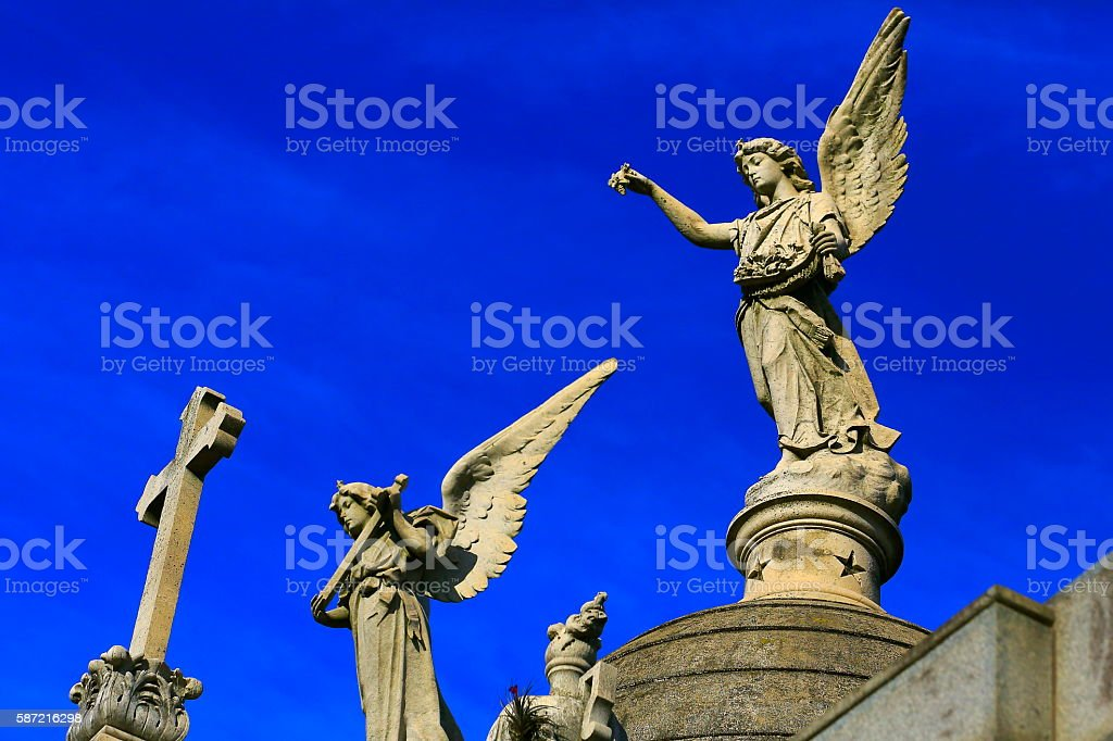 Beautiful powerful Madonna Angels Memorial graves, Recoleta cemetery, Buenos Aires stock photo