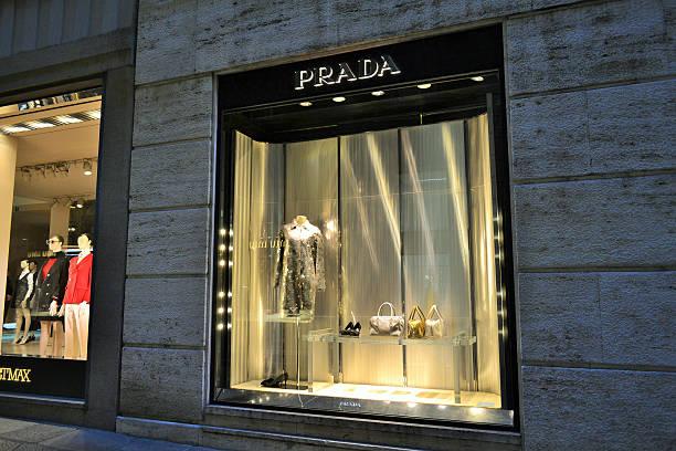 Beautiful Prada boutique window in the della Spiga street. stock photo